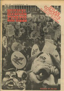 Front page of NME 6 May 1978 about the Anti Nazi League carnival and protests